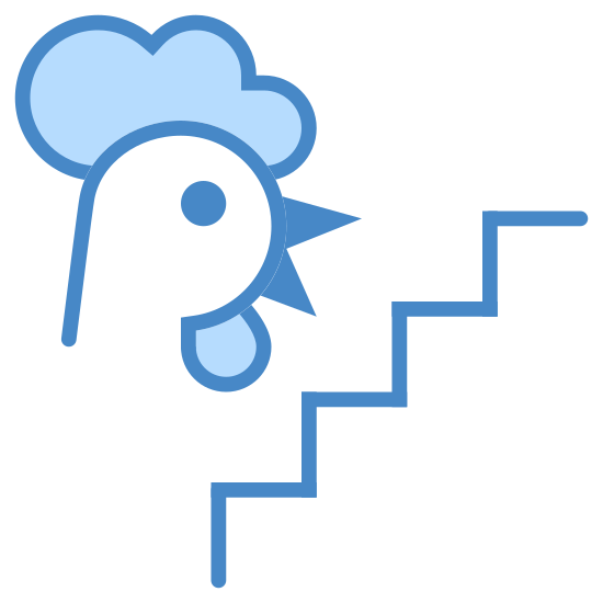 Chicken Ladder icon. On the right there is a line signifying stairs that ascends from diagonally from left to right in a series of right angles. To the left of this is the head of a rooster facing toward the stairway.