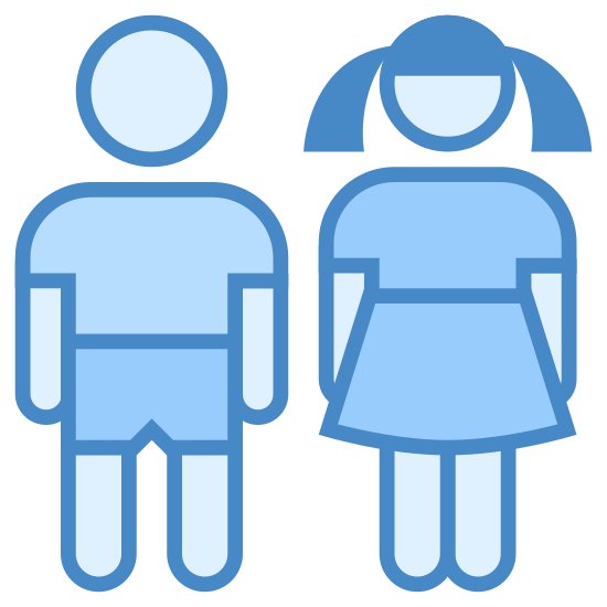Dzieci icon. There is a simplified drawing of two people holding hands. The one on the right is presumably male and the one on the right appears female based on the clothing. The female is wearing a dress and pigtails, the male looks to be wearing shorts.