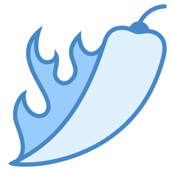 Chili Pepper icon. This is a logo of a chili pepper that is on fire. It is the long traditional chili pepper shape similar to the shape of an animal tooth or a sideways smile. It has flames on it to show that is is hot.