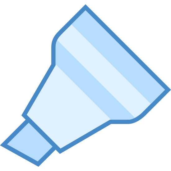 Marker ze ściętą końcówką icon. It's a logo for a chisel tipped marker that shows only part of the marker. The chisel is present as well as the base of the marker. There are two lines at the base of the marker that make a stripe.