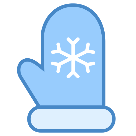 Mitten icon. It's a logo of a Christmas mitten. It is a picture of a mitten for the right hand with a small snowflake placed in the center of the mitten, over the palm area.