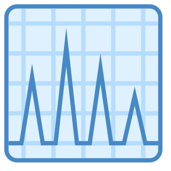 ECG icon. This is an image of a square. Inside of the square is a line which looks like a heart rate monitor chart. There are four peaks on this line and they are all of varying sizes.