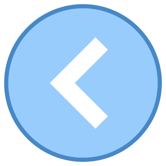 Back To icon. This icon for Circled Chevron Left is a large circle. Inside of the circle, at its very center, is a chevron symbol. This looks like the letter L, only rotated clockwise by half a turn.