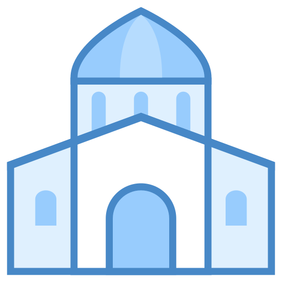 City Hall icon. This logo features a government building. It has a basic structure, a domed top with pillars emitting from the base, leading into the main section of the building. The main section has an arched doorway.