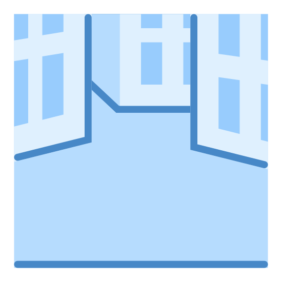 Plac miejski icon. It's a logo of a line at the bottom and then parts of three buildings at the top forming a sort of square in the empty space in the middle. The buildings have doorways and windows on them.