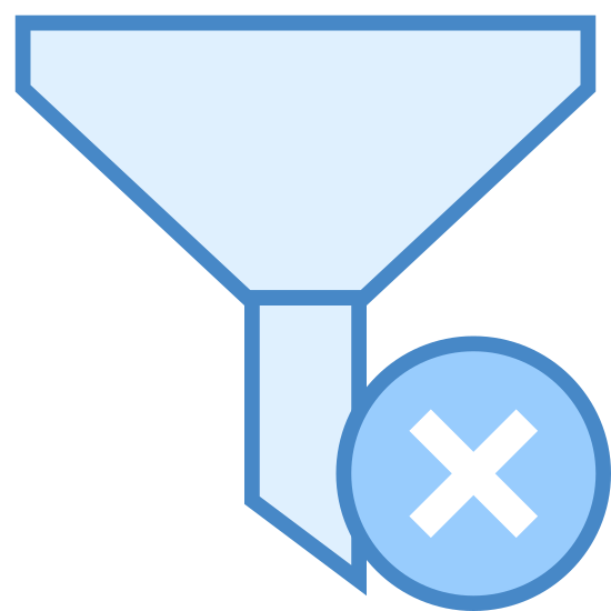 Wyczyść filtry icon. The icon is shaped like an upside down triangle missing the point but the corners are not pointed they are flat.  Where the tip of the triangle should be is a blade like shape. To the bottom right of that is an X.