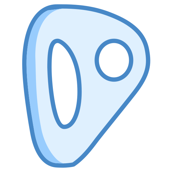 Climbing Anchor icon. It's a logo of a climbing anchor which looks sort of like a curved triangle with its point to the upper right. On the left is a double line representing that the item has depth and then on the item is a circle on the right side and an oblong curved shape to the left inside it.