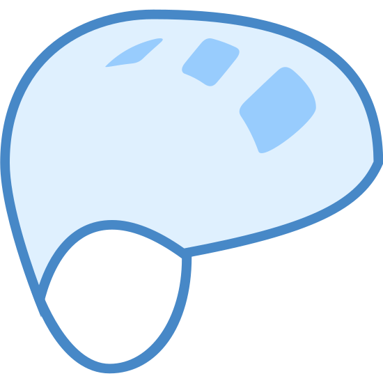 Climbing Helmet icon. The icon is a helmet. It is an odd circular shape with three small squares with rounded edges on the middle of the shape. On the bottom of the shape are two curved lines parallel to one another, simulating a chin strap.