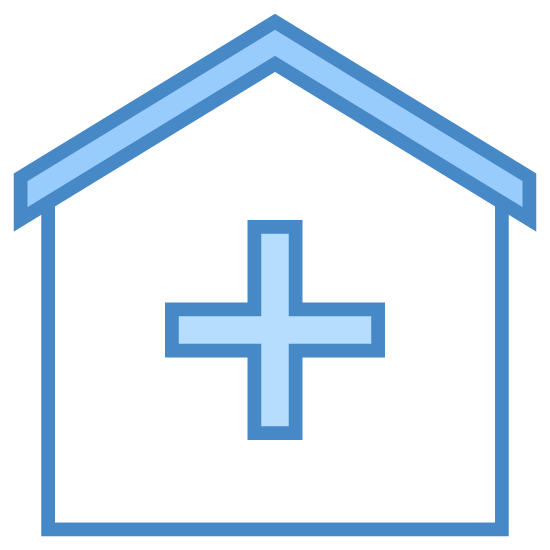 Klinika icon. It is a logo of a clinic. There is a standard house shown with no doors or windows, just an outline of a house. Inside the house, a small solid plus sign is placed.