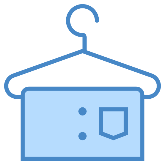 Szatnia icon. This logo is of a clothes hanger, the hooked part facing to the right. Draped on the bottom of the hanger is a rectangular shape, with rounded edges. The ends of the hanger don't quite meet at the rectangle.