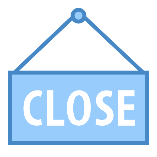 """Close Sign icon. The image is a rectangle, with two lines stretching from its top, that join to form a triangle. Inside of the rectangle, is the word """"close"""", spelled with each letter capitalized."""