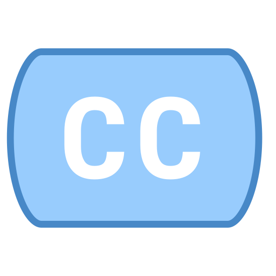Napisy CC icon. This icon is depicting the closed captioning or subtitling feature associated with video content for foreign language or the hard of hearing. The icon is depicted as two capital C's directly next to each other.