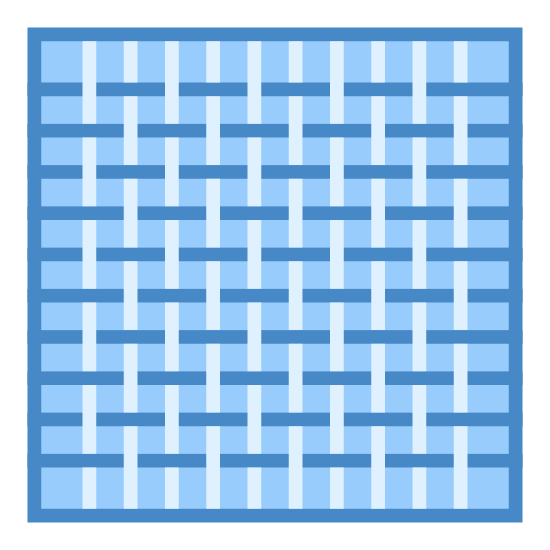 Cloth icon. It's an icon portraying a piece of cloth. It has multiple pieces of thread woven together in a criss-cross pattern to form the entire piece of cloth. The cloth has 5 pieces of thread going vertically, and 3 going horizontally.