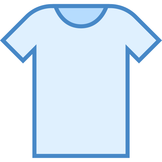Ubrania icon. This image is a picture of a short sleeve T-shirt.  This shirt's sleeves hit above the elbow and it has a rounded neck. The hem of this shirt fits right at the waist.  This style of T-shirt doesn't have a pocket.