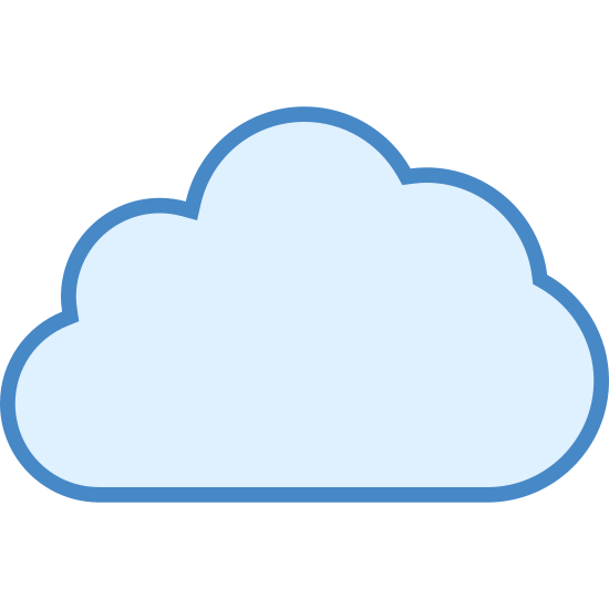 Cloud icon. This is a very simple icon that looks just like a cloud. The bottom is flat, but the top is rounded and billowy. It looks just like the back of a sheep. It's easy to see how someone might use this to represent the shape of a cloud.