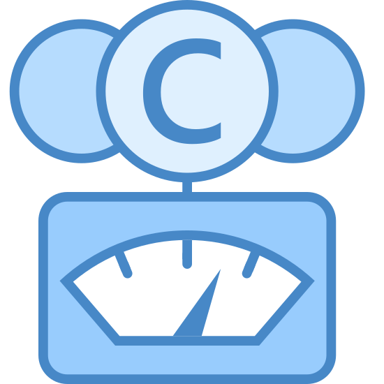 CO2 Gauge icon. The icon is a simplified depiction of a gauge meant to be used in order to monitor CO2 levels. A box with a small window inside which sits a needle comprises the gauge part of the device. Atop it is a circle with a C inscribed in the middle and two unfinished circles on either side, representing the form of a carbon dioxide molecule.