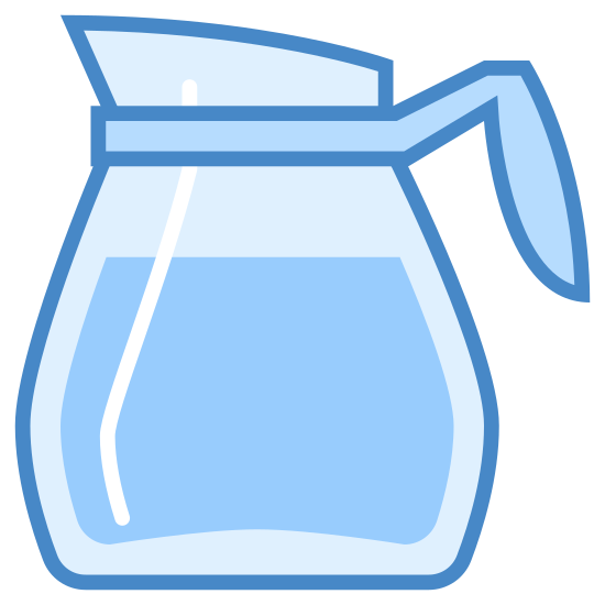 Dzbanek do kawy icon. It looks like a simple glass carafe. Its pour spout is facing to the left. It has a band around the top of the funnel shape, to which  a semicircle is attached on the right, to look like a handle. A line across the body of the funnel makes it look like coffee is in the pot.