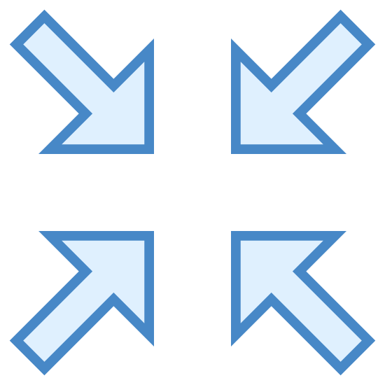 Zminimalizuj icon. The icon consists of four arrows pointing to the center. The arrows are right angles bisected each by a line extending outward to the corners of the image. The icon represents the minimization or shrinking of a graphical element.