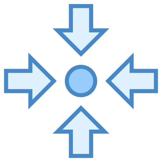Collect icon. This logo has a small filled in circle in the very center. Surrounding this dot are four arrows. Each arrow has a short tail and are pointing toward the circle from the directions north, east, south, and west.