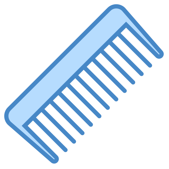 Comb icon. The comb is small with tons of little sharp blades lined up along the edge so that you can do your hair. It has a handle to grasp onto as you run it through your hair.