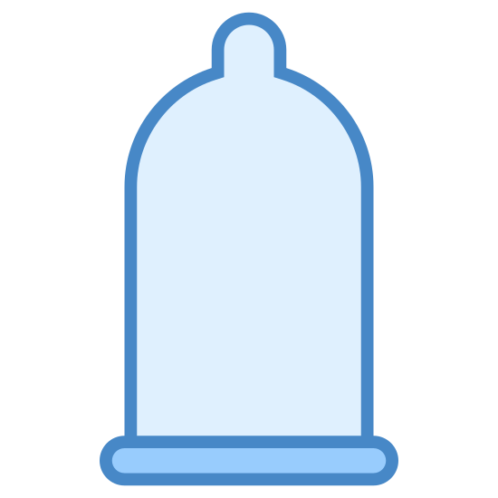 Condom icon. It's a logo of Condom, reduced to a picture of a small rubber balloon. The balloon is rectangular and it has a pointed tip. Condoms are used to practice safe sex.