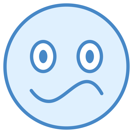 Confused icon. This icon consists of an outlined circle meant to resemble a confused human face. Within the outlined circle are two darkened ovals representing eyes and an elongated letter 'S' shaped mouth contorted in confusion.