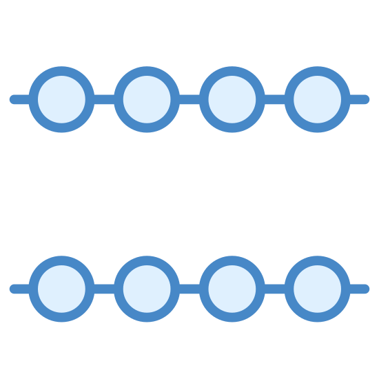 Connected No Data icon. The icon looks like two horizontal lines one on top of each other. Each line has 3 circles that look like they were strung onto the line. Each circle is equally spaced.
