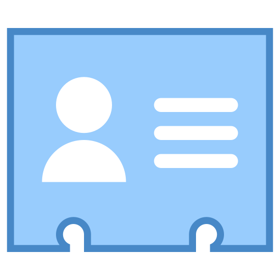 Contact icon. This icon represents a contact card. The shape of the card is rectangle with notches at the bottom and a tab on the left hand side. The card has a picture of a human head on the left side and lines for information on the right side.