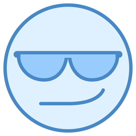 Cool icon. This is a picture of a smiley face that is looking sly. It has polka dotted sunglasses on and a smug look on it's face. The glasses have actual polka dots on the lenses. There is no nose or eyebrows