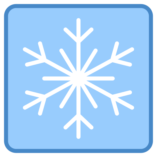 Chłodzenie icon. There is a slightly rounded rectangular shape. In the middle of the rectangle shape there is a single 6 pointed snowflake, aside from the snowflake the rectangle lacks any other details.