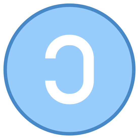 """Copyleft icon. The Copyleft icon is a circle with a backwards letter """"C"""" placed in its center. The """"C"""" is a block letter, so it is really the outline of a """"C"""" with blank space in between the lines."""