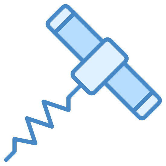Corkscrew icon. There is an oval object that you grip like a handle. There are two small end pieces attached to that, and in the middle, a squiggly line is protruding from it as a corkscrew.
