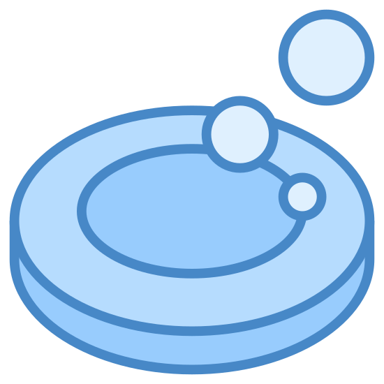 """Soap Bubble icon. The icon indicating """"cosmetic soap"""" is mainly a large oval shaped bubble. A much smaller bubble appears as well in the upper left corner of the image. There is another bubble in the upper right hand corner and appears to be made from 2 bubbles."""