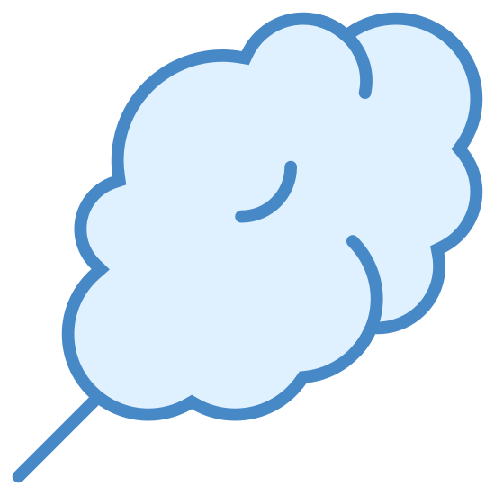 Cotton Candy icon. This particular icon features a curvey, bubbly shape that resembles a cloud.  The shape is situated diagonally.  On the bottom left corner is a black shape that resembles a handle or needle point.