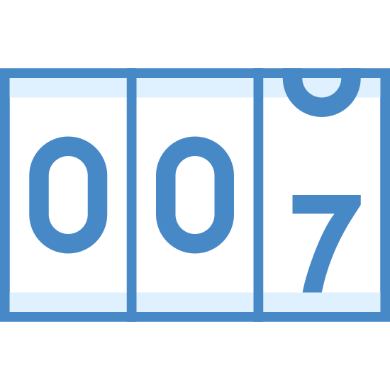 """Счетчик icon. There are three small, vertically placed rectangles right next to one another. In each of these rectangles there is a number that is designed to move. Currently, the first two rectangles show the number """"zero"""" and the third is changing from """"six"""" to """"seven."""""""