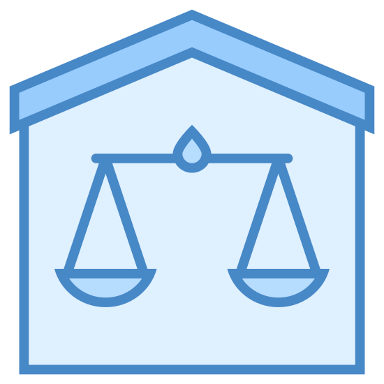 Tribunal icon. This icon represents a courthouse. It has a square shape with a roof on top to depict the courthouse. Inside the square are scales that are balanced but there is nothing in them.