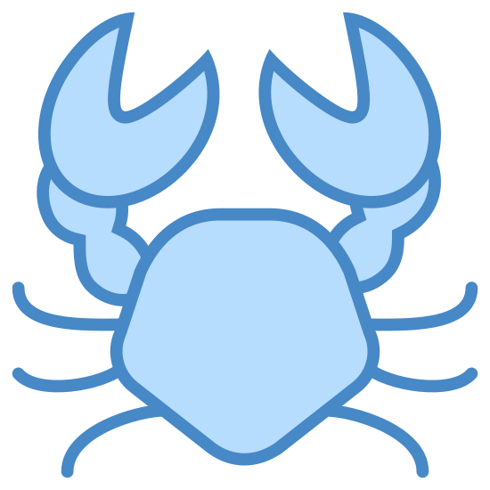Crab icon. This icon is a stylized version of a crab holding it's pincers in the air. There is a oblong circle in the middle that represents the body and some curved lines coming out the sides which represent the crab's legs. The pincers are made of circles with a chunk taken out of them, just like Pacman from the video games.