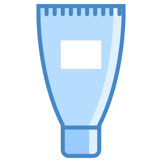 Tubka kremu icon. It's a logo of a cream tube with its cap on bottom and the tube going up from it. The tube is wider than the cap and there is a square in the middle of the tube and a line across the top.