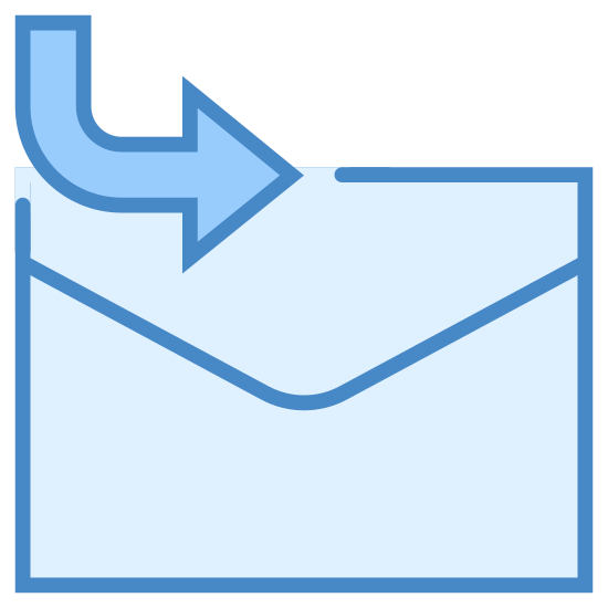 Utwórz nowy post zagnieżdżony icon. This is an image of an envelope with an arrow. The envelope is a standard white folded paper envelope. The arrow comes down in an arc from the top left and overlaps the top of the envelope ultimately pointing to the right.