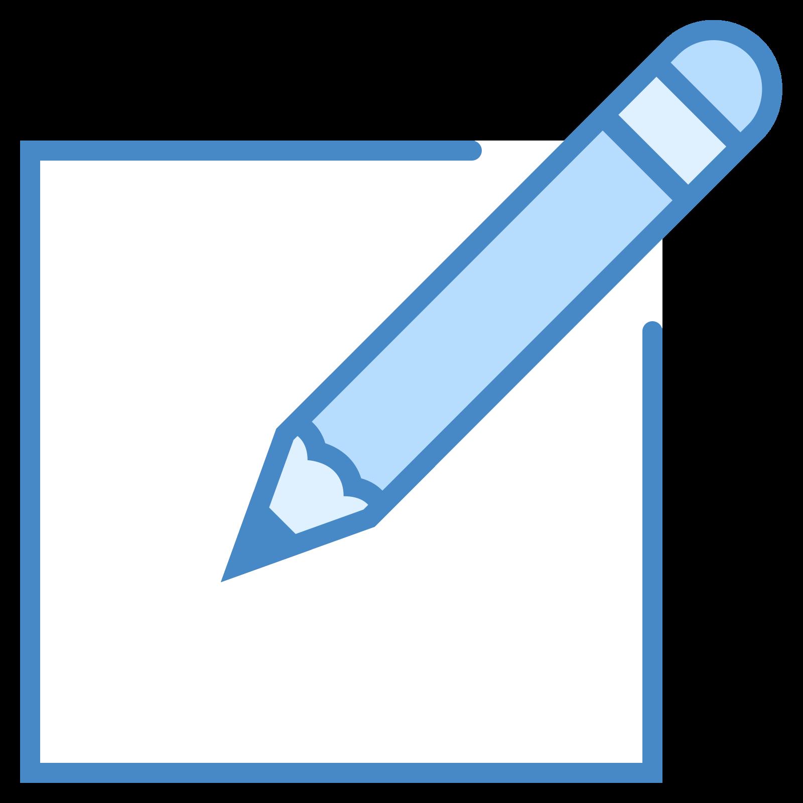 新規作成 icon. The icon is a picture of a logo for Create New. The icon is in the shape of a square. The square has a pencil located at the top right. The pencils tip is facing down to the left.