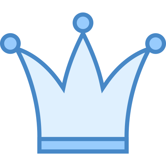 Korona icon. This logo depicts a crown. It has a small wide rectangle on the bottom with a three-pointed triangle on top of it. There is a circle at the point of each triangle.