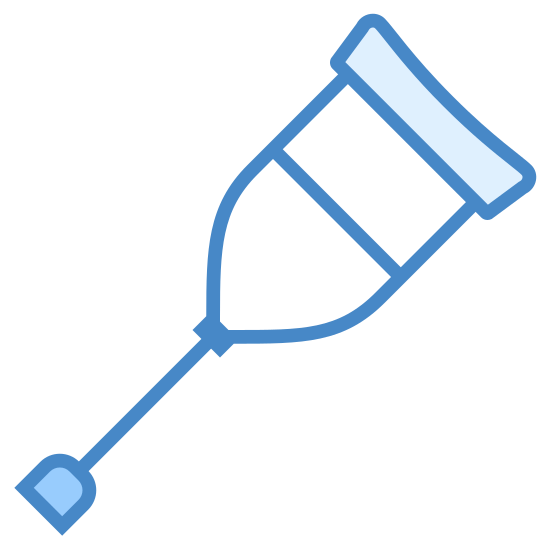 Crutch icon. A crutch much like the one you'd expect. At the top, a pad for the underarm, with a brace attached to it and a handle crossbeam. The brace comes together to form a single  line, at the bottom of which is a pad to protect flooring.