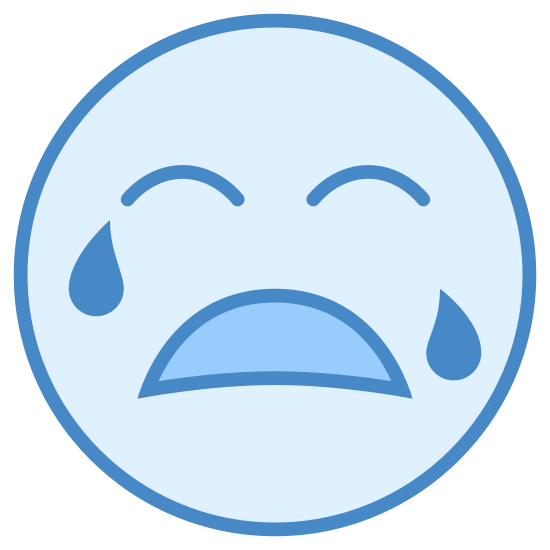 Crying icon. It is a smiley face crying.  There are two eyebrows, a downturned mouth, and a teardrop on each side of cheek.  The facial features are contained in a round head.  These features are on most keyboards.