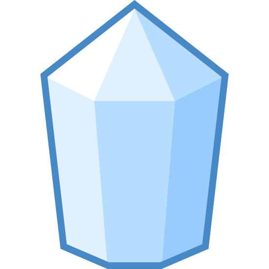 Crystal icon. The outer shape of the object is a heptagon with a pointed top. The object is divided into two parts, the top and the bottom. The top consists of three triangles all touching and pointing upwards. The bottom section consists of three rectangles that are taller than they are wide.