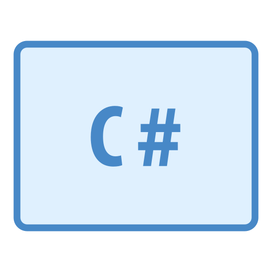 "CS icon. This is a logo for describing computer science labeled ""CS"". It has a rectangular box surrounding a C and a # sign with no space in between them to depict the C# language."