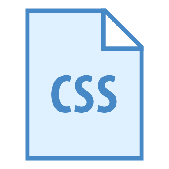 Fichier de type CSS icon. It is a vertically oriented rectangle with left and right sides larger than top/bottom sides. in the top right corner, part of the sides are shortened to form a diagonal connecting the top and right lines. this forms the hypotenuse of a small right triangle in the interior. In the middle of the rectangle are the letters 'CSS'