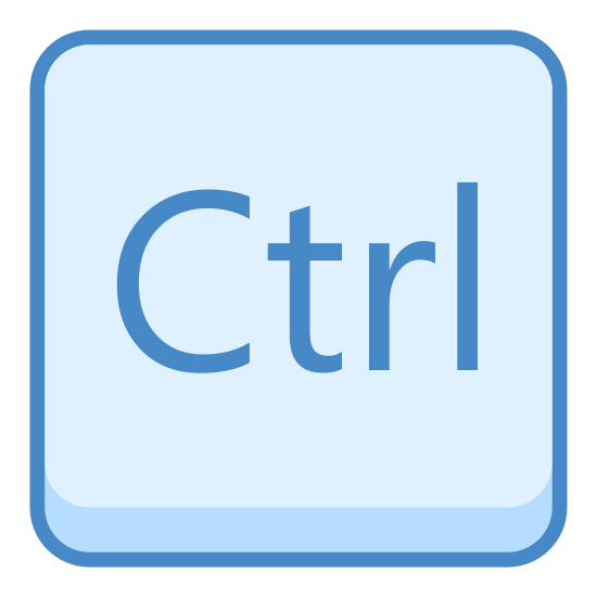 Ctrl icon. This icon for control  is a rectangle with sides that are nearly equal in length. The width is a bit larger than the height. The corners are rounded, and at its center are there letters ctrl, with the C being capitalized.