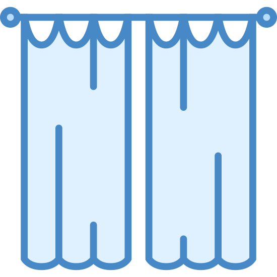 Curtains icon. The icon shows a set of two tall curtains that are hanging from a rod with ruffles on the bottom of them. They are hanging side by side with a small gap between them.