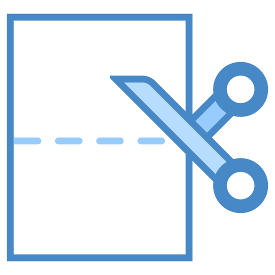 Cięcie papieru icon. A logo with a vertical rectangle, dashed lines across the middle of the rectangle indicating where to cut, with a scissor at the start of the dashed lines. The whole logo is not colored. Only black lines are used.