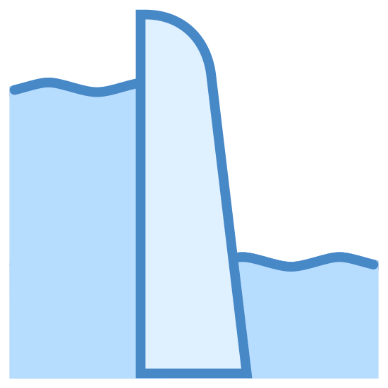 Dam icon. This is an image of two sets of wavy lines with a dam like wedge between them.  On the left side of the dam are seven sets of wavy lines.  On the right side of the dam are only three sets of wavy lines.